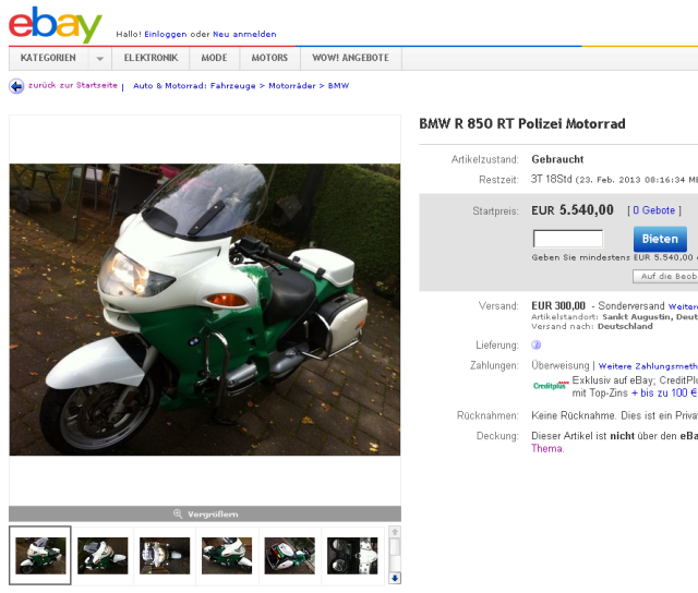 BMW R 850 RT Polizei Motorrad   eBay
