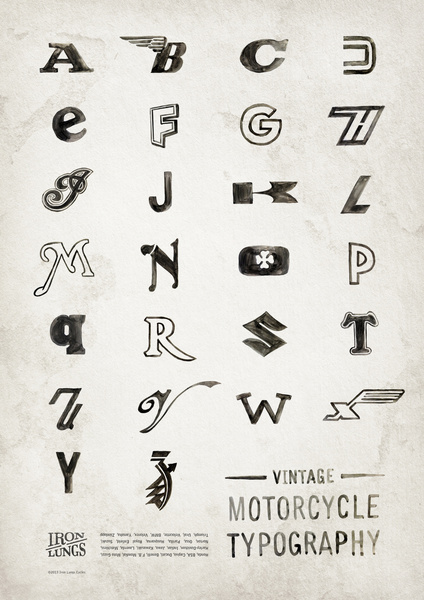 vintage motorcycle typography