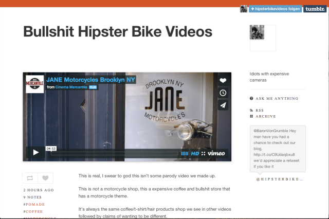 Bullshit Hipster Bike Video