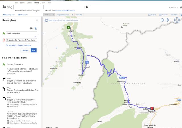Route von Sölden  Österreich nach St. Leonhard in Passeier  Tr.A.A.  Italien   Bing Karten