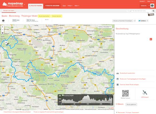 Mopedmap Route Standardansicht