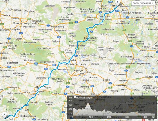 Rhön   Thüringer Wald   Hoher Fläming   Berlin   Mopedmap  Google Map