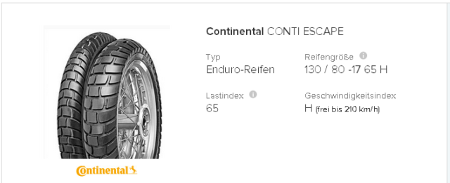 Continental Conti Escape 130   80  17 65 H   tirendo.de