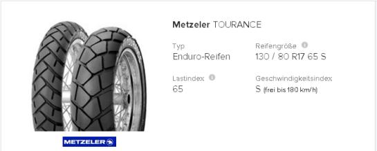 Metzeler Tourance 130 80 R17 65 S tirendo.de