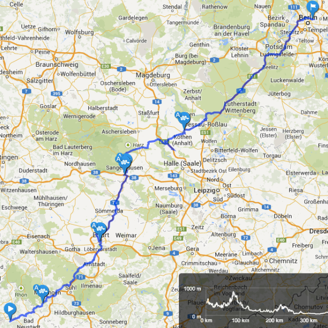 Mittelgebirgstour Tag 4 Route