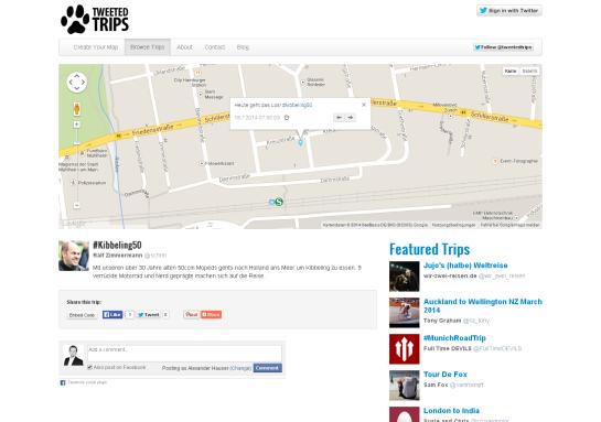 Kibbeling50   Tweeted Trips   Map your Tweets